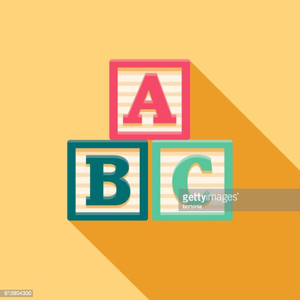 alphabet blocks flat design baby icon - bloco stock illustrations