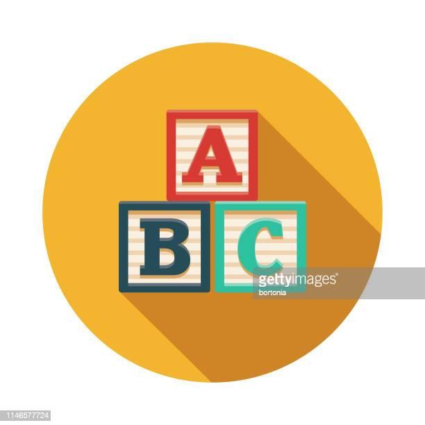 alphabet blocks game flat design icon - stacking stock illustrations