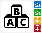 Alphabet Blocks Icon Flat Graphic Design