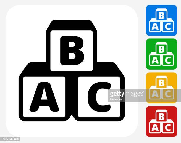 alphabet blocks icon flat graphic design - bloco stock illustrations