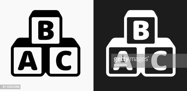 Alphabet Blocks Icon on Black and White Vector Backgrounds