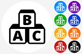 Alphabet Blocks Icon on Flat Color Circle Buttons