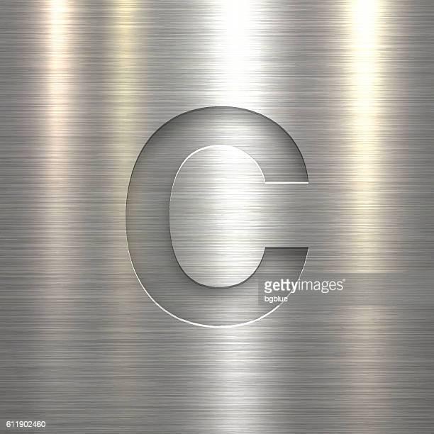 alphabet c design - letter on metal texture background - letter c stock illustrations, clip art, cartoons, & icons