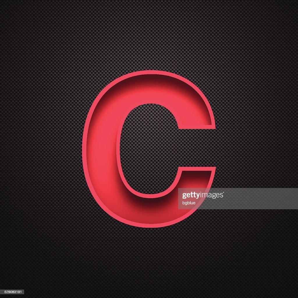 Alphabet C Design - Red Letter on Carbon Fiber Background : stock illustration