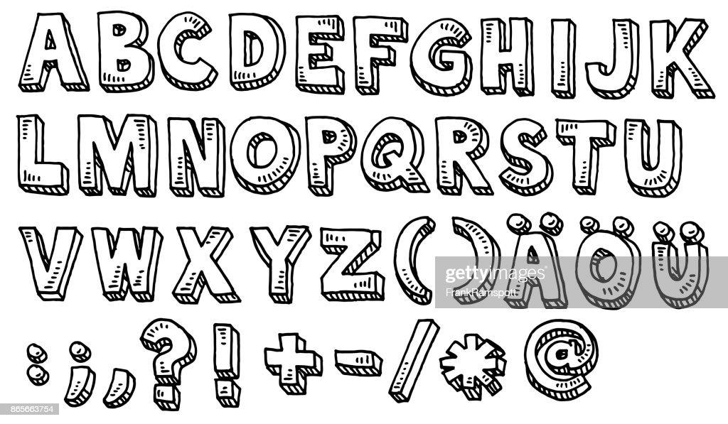 Alfabeto mayúsculas y especiales personajes de dibujo : Ilustración de stock