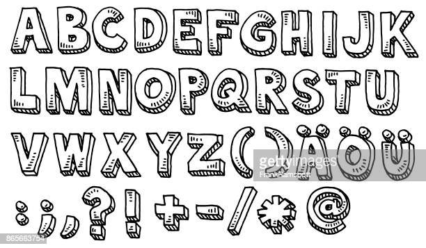 alphabet capital letters and special characters drawing - alphabet stock illustrations