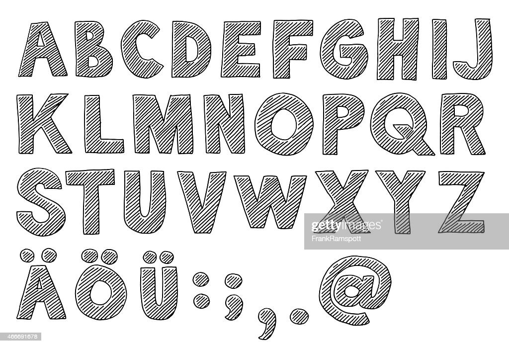 Alphabet Capital Letters Drawing Vector Art | Getty Images