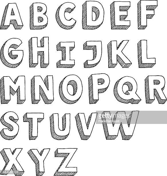 alphabet capital letters sans serif drawing - alphabet stock illustrations
