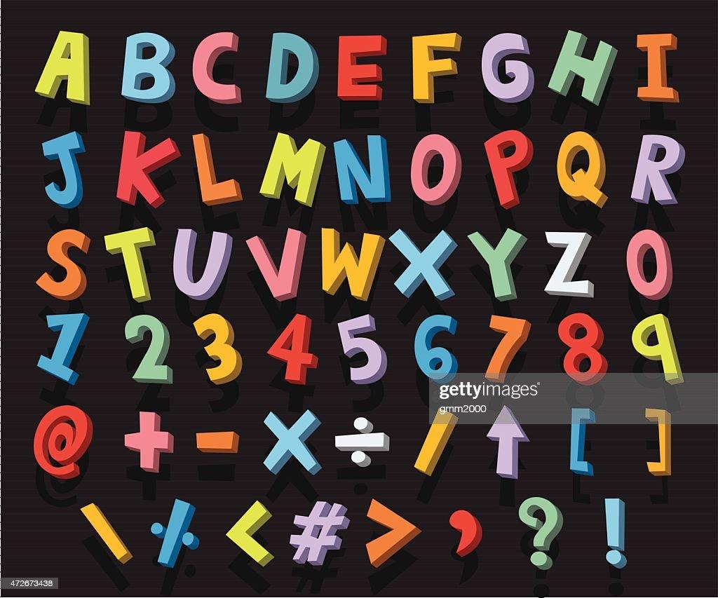 alphabet cartoon 3d vector