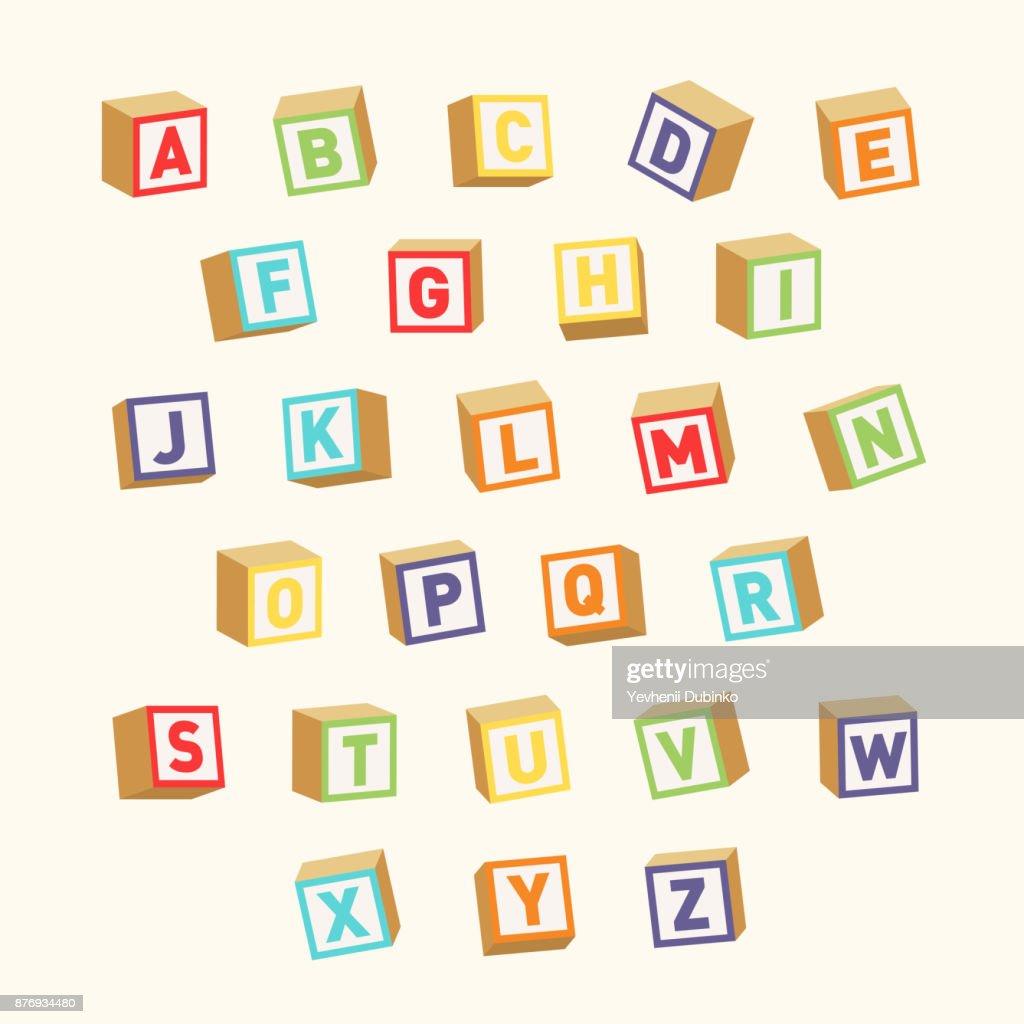 Alphabet. Colorful toy blocks, font for children education