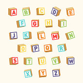 Alphabet. Colorful toy blocks, font for children education