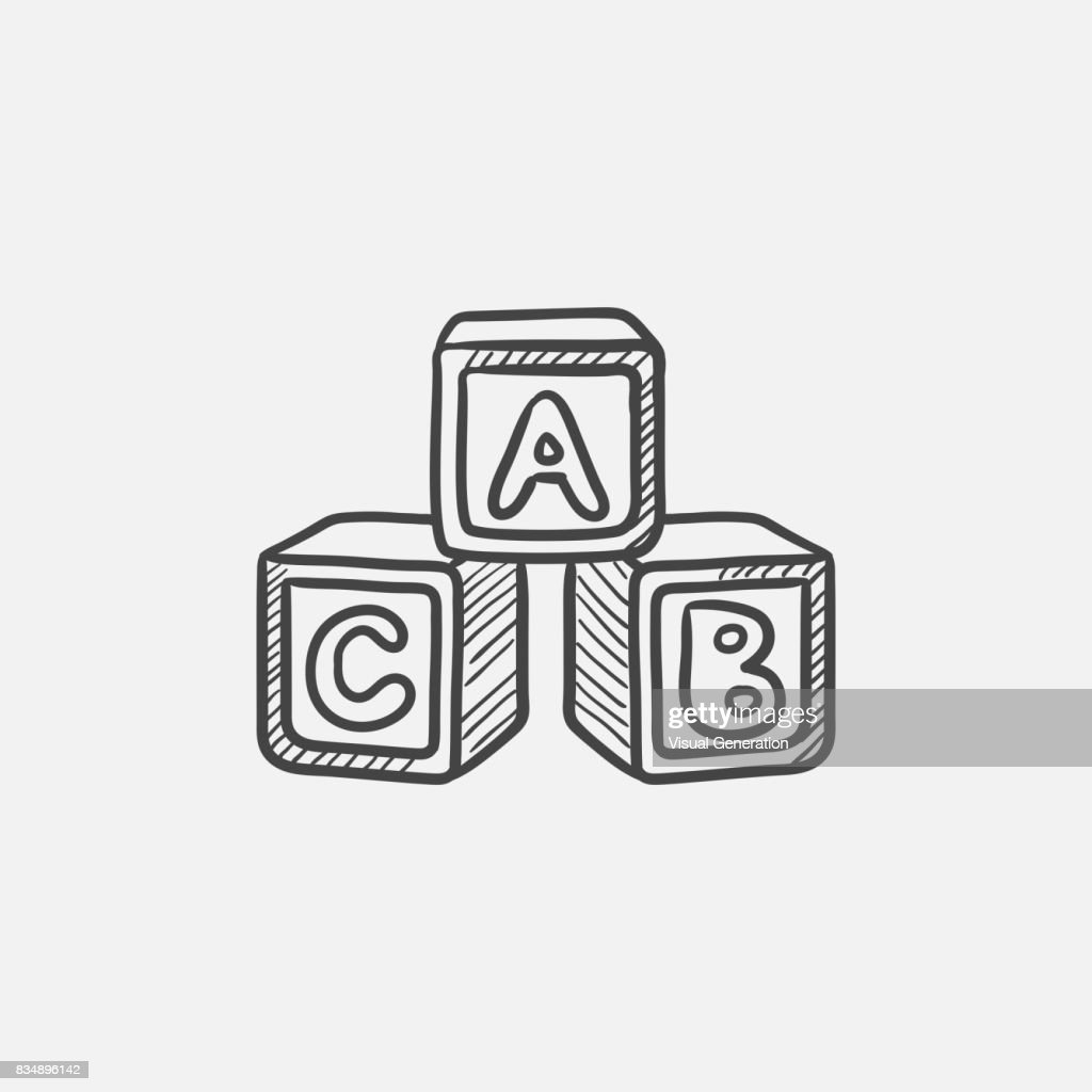 Alphabet cubes sketch icon