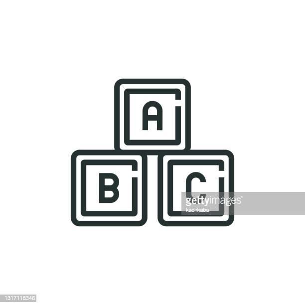 alphabet cubes toy line icon - abc stock illustrations