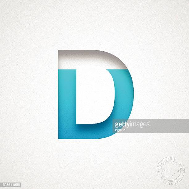 alphabet d design - blue letter on watercolor paper - letter d stock illustrations, clip art, cartoons, & icons