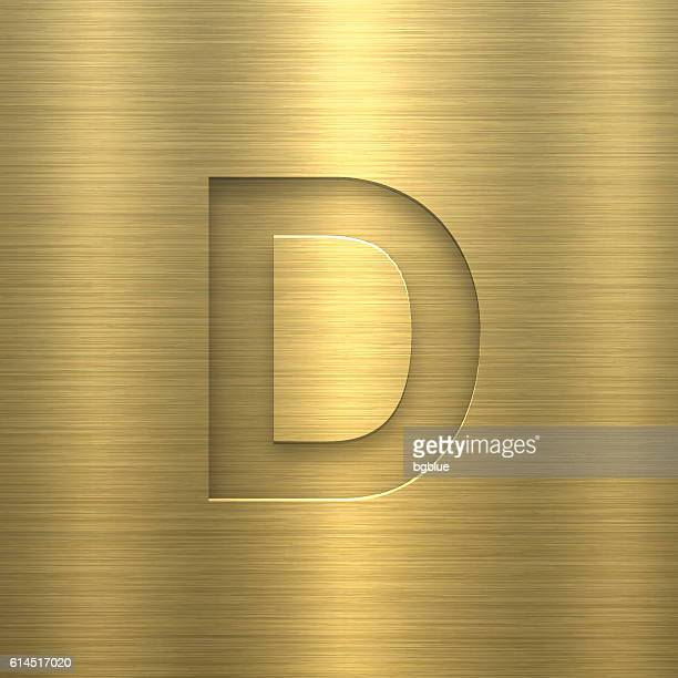 alphabet d design - letter on gold metal texture - letter d stock illustrations, clip art, cartoons, & icons