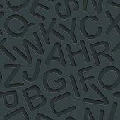 Alphabet dark seamless vector background with 3D effect.