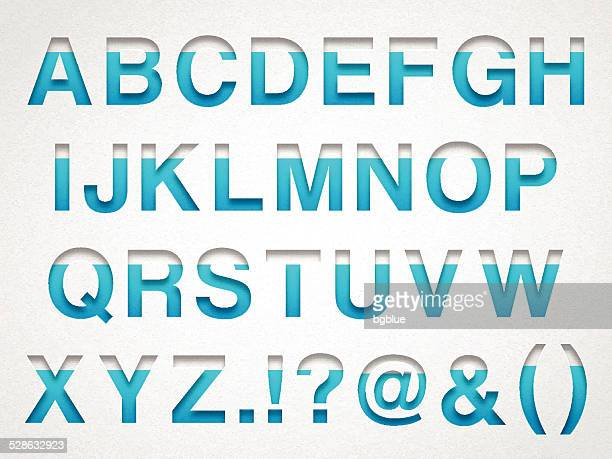 Alfabeto-letras de Design azul em papel de Aguarela