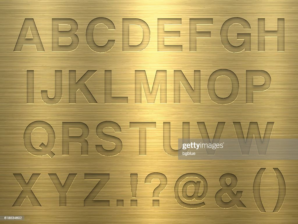 Alphabet Design Letters On Gold Metal Texture stock illustration
