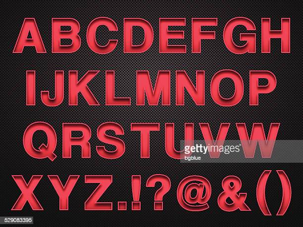 alphabet design - red letters on carbon fiber background - alphabet stock illustrations