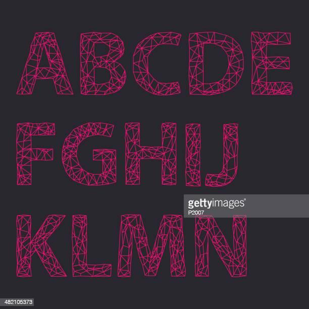 ilustrações de stock, clip art, desenhos animados e ícones de conjunto de alfabeto de design - letraj