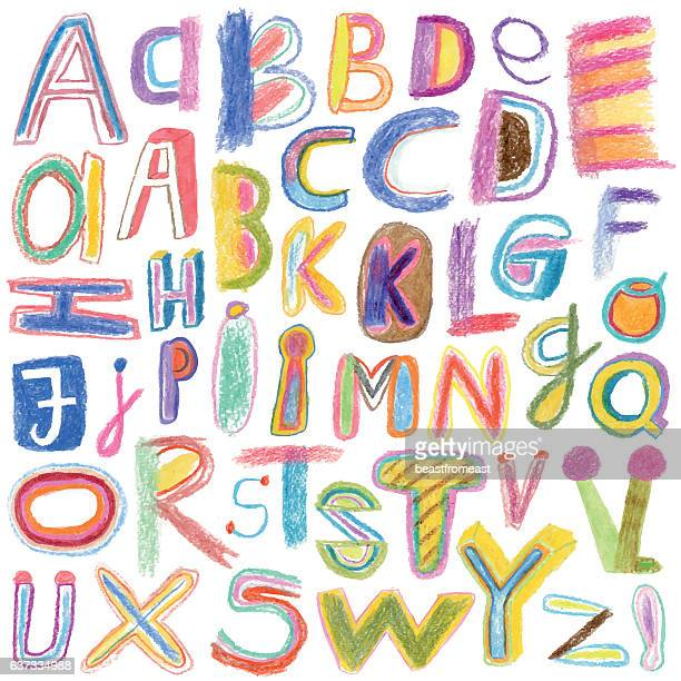 alphabet drawn with crayons - alphabet stock illustrations