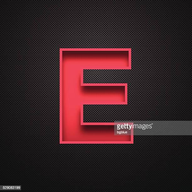 ilustraciones, imágenes clip art, dibujos animados e iconos de stock de alfabeto letras e design-rojo sobre fondo de fibra de carbono - letrae