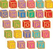 alphabet english colorful blocks
