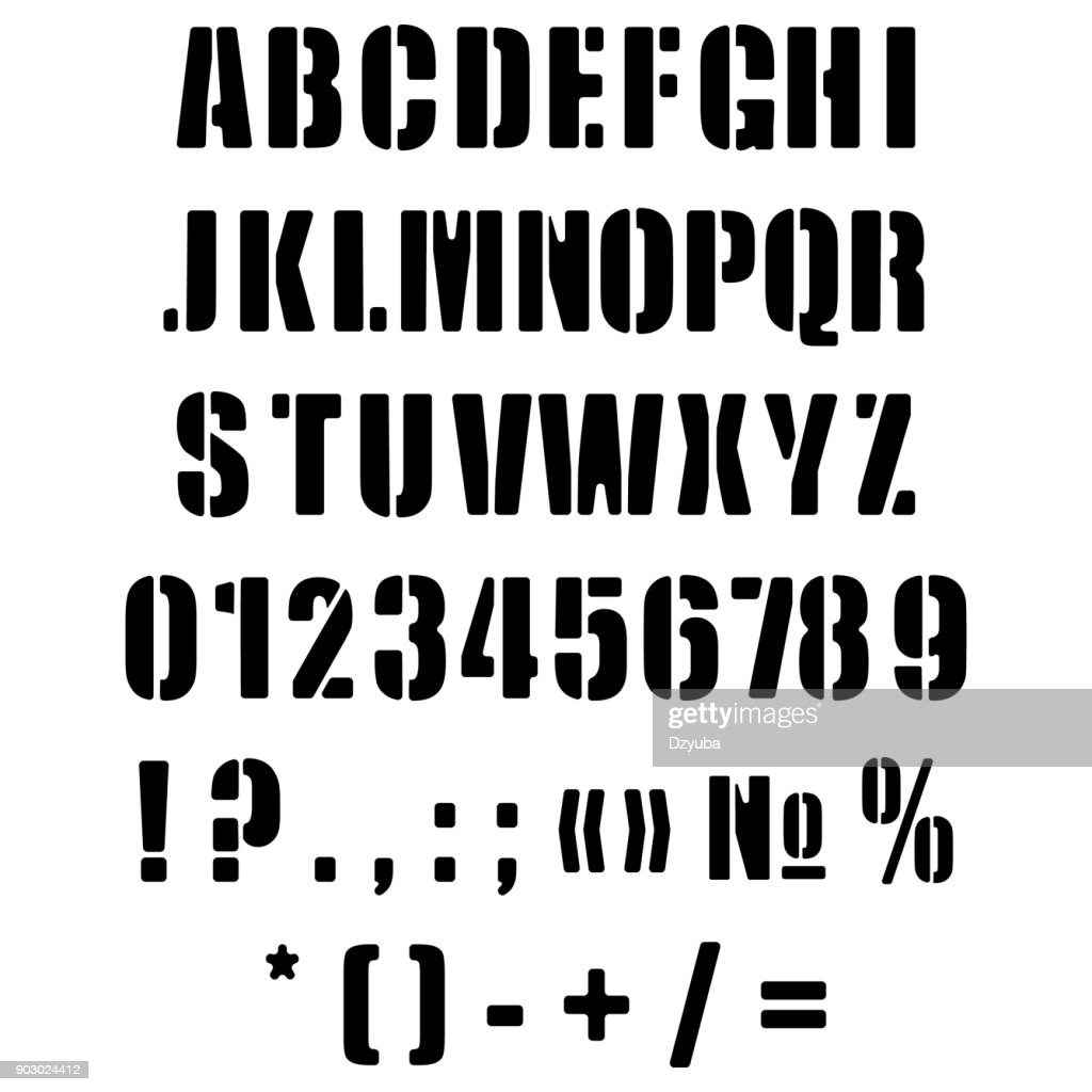 Alphabet English in the form of a stencil