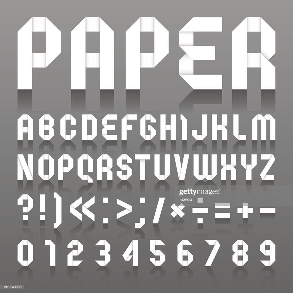Alphabet folded of paper