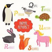 Alphabet for kids. Penguin, Quail, Rabbit, Squirrel, Tortoise, Unicorn