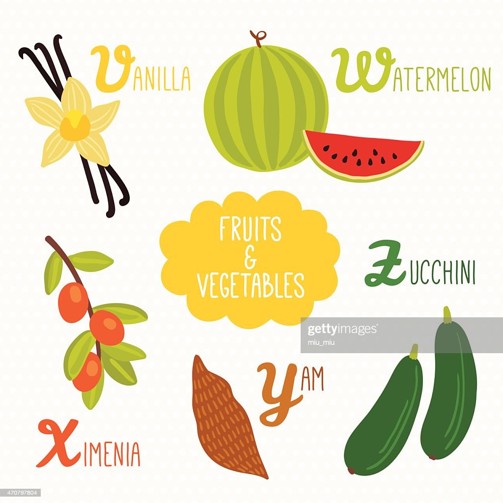 Alphabet for kids with fruits and vegetables