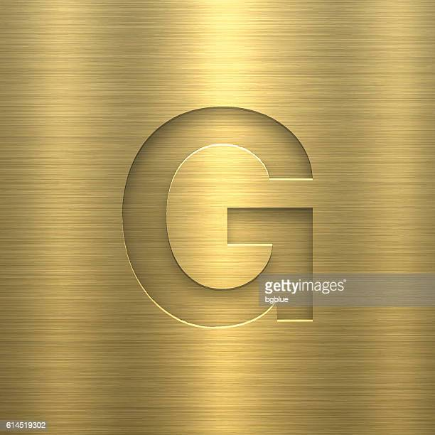 alphabet g design - letter on gold metal texture - sheet metal stock illustrations, clip art, cartoons, & icons