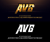 Alphabet gold metallic and effect designs. Elegant golden letters typography italic font. technology, sport, movie, and sci-fi concept. vector illustrator