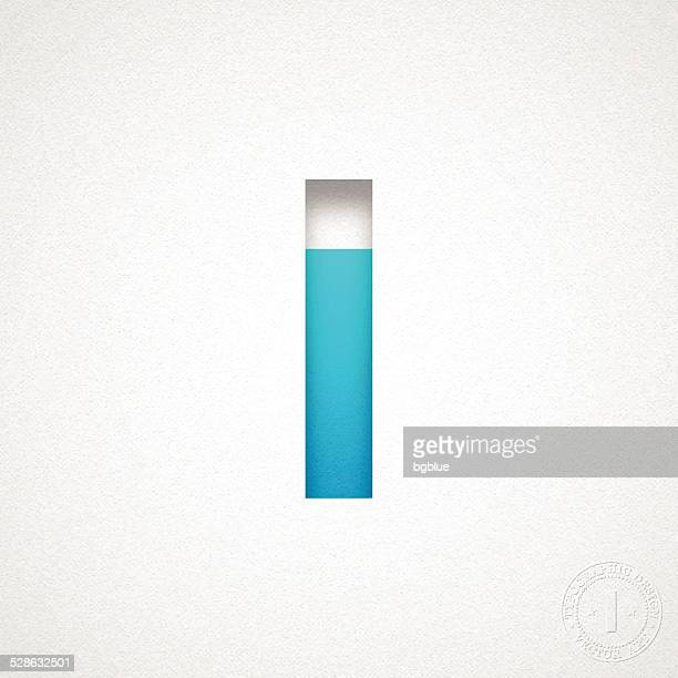 alphabet i design - blue letter on watercolor paper - letter i stock illustrations
