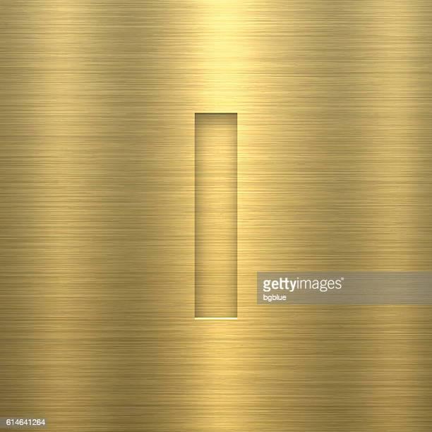 alphabet i design - letter on gold metal texture - letter i stock illustrations