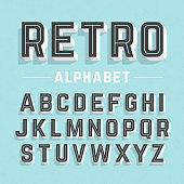 Alphabet in a retro style