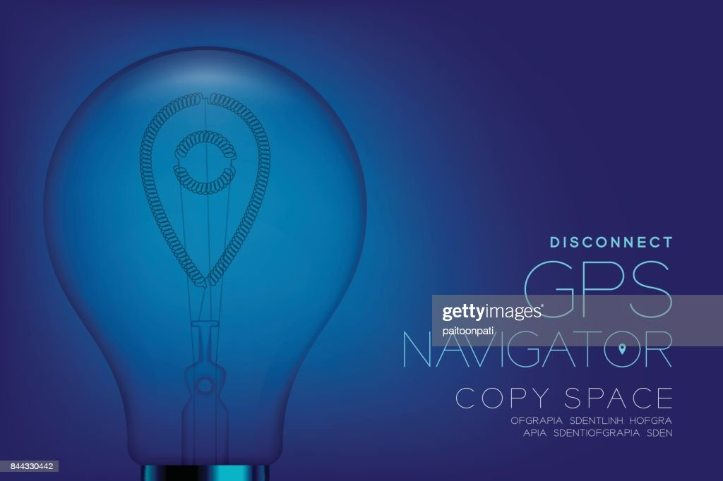 Alphabet Incandescent light bulb switch off set GPS navigator lost signal disconnect concept, illustration isolated in blue gradient background
