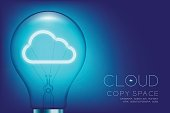 Alphabet Incandescent light bulb switch on set Cloud connect concept, illustration isolated glow in blue gradient background