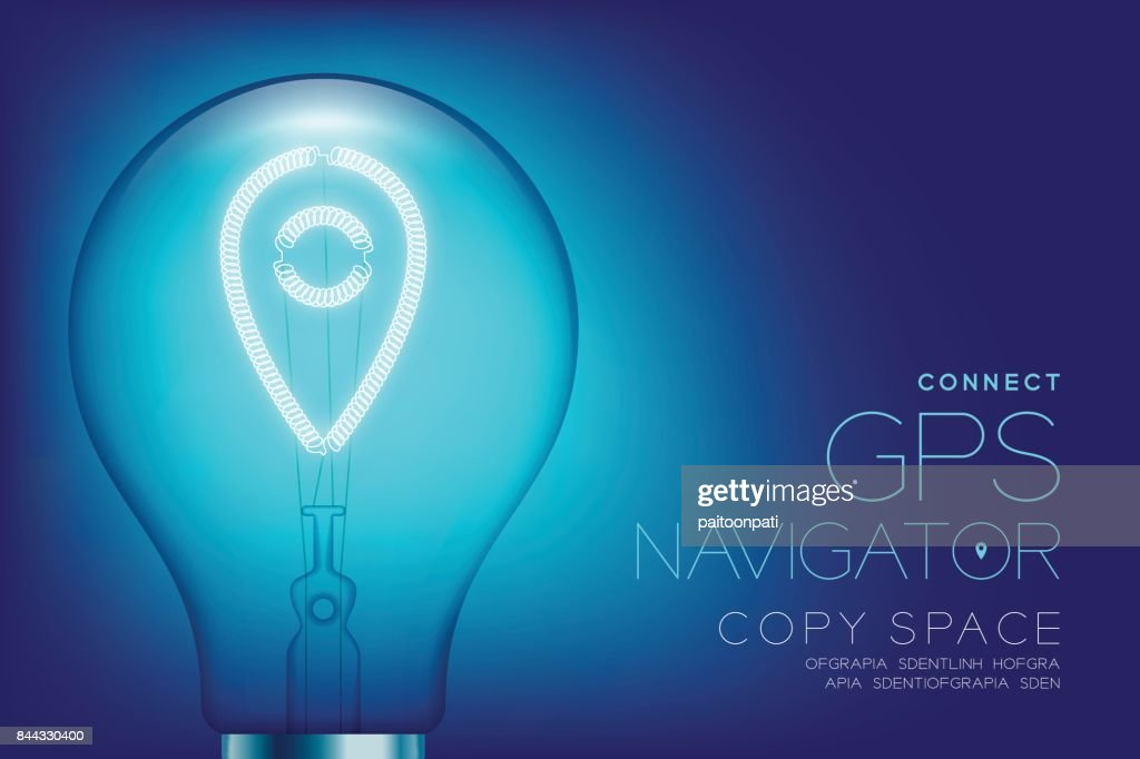 Alphabet Incandescent light bulb switch on set GPS navigator connect concept, illustration isolated glow in blue gradient background