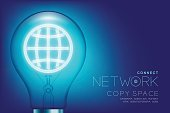 Alphabet Incandescent light bulb switch on set Network idea connect concept, illustration isolated glow in blue gradient background