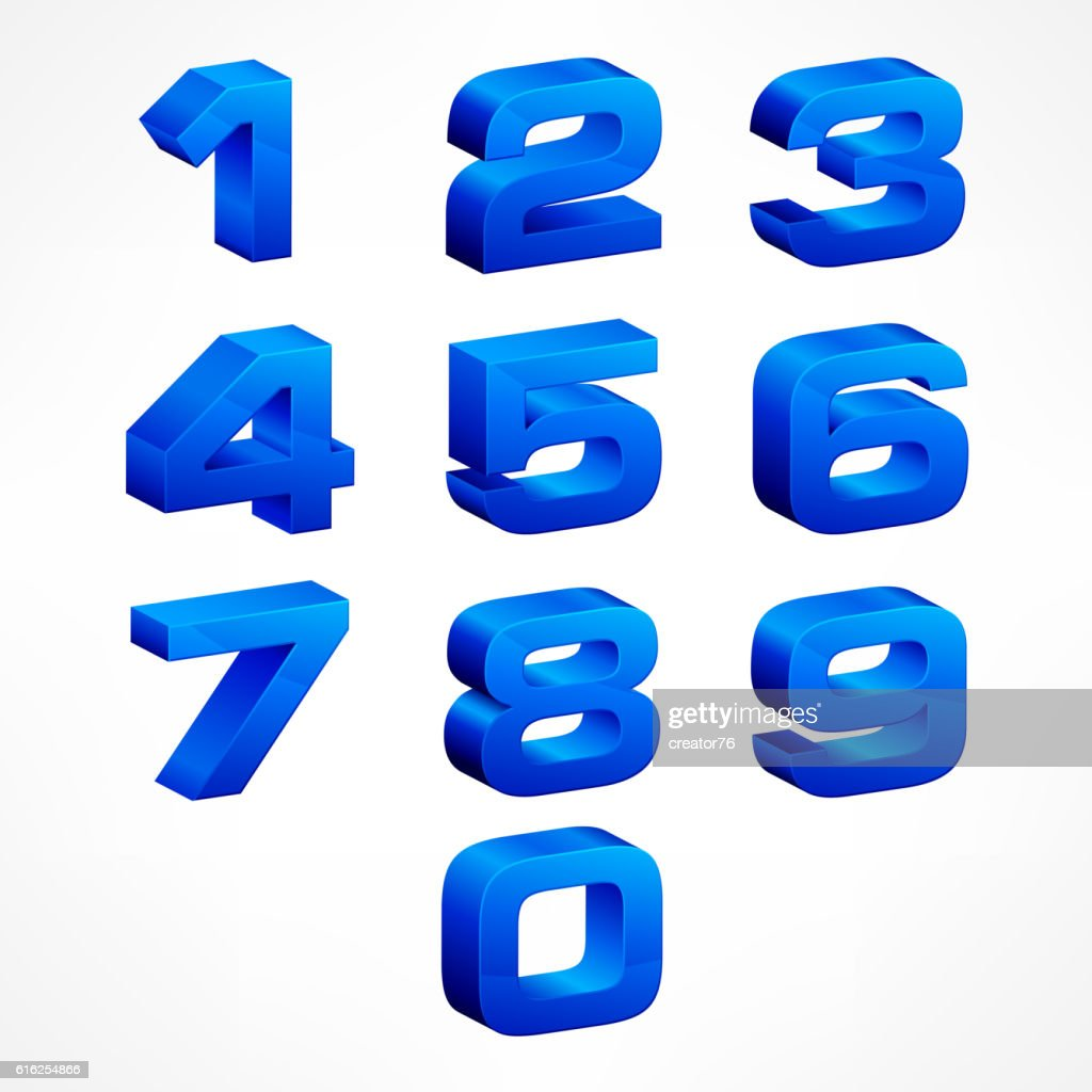 Alphabet isometric numbers in blue : Arte vetorial