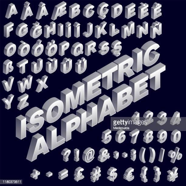 3d alphabet isometric - number stock illustrations