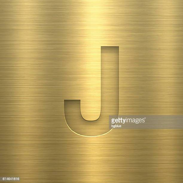 ilustrações de stock, clip art, desenhos animados e ícones de alphabet j design - letter on gold metal texture - letraj