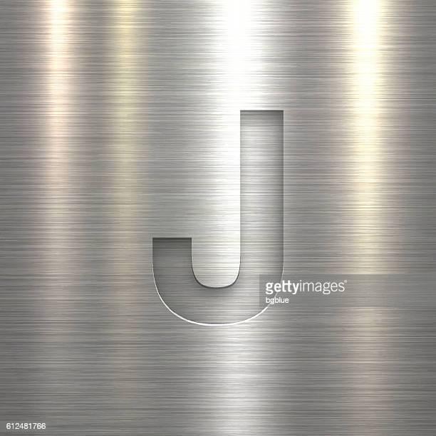 ilustrações de stock, clip art, desenhos animados e ícones de alphabet j design - letter on metal texture background - letraj