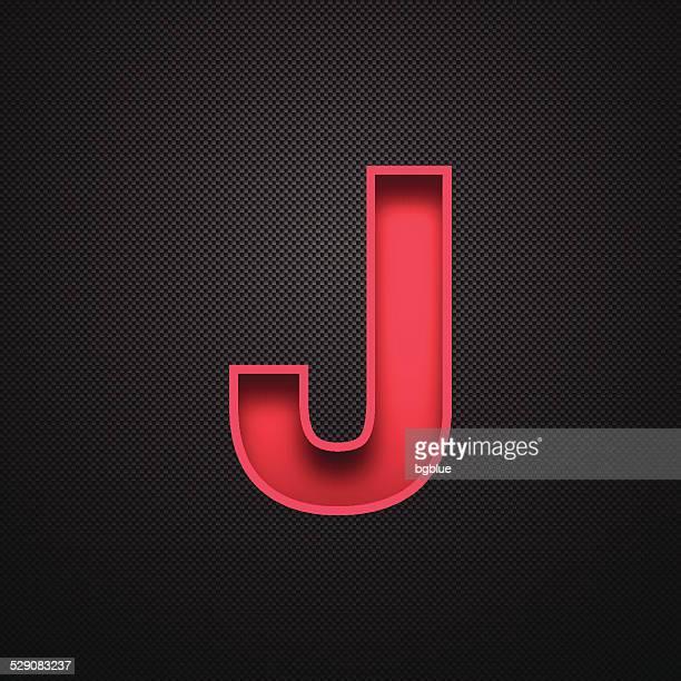 ilustrações de stock, clip art, desenhos animados e ícones de alfabeto-letra j design vermelho sobre fundo de fibra de carbono - letraj