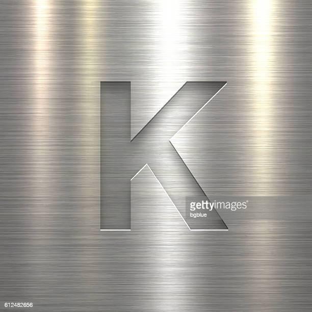 Alphabet K Design - Letter on Metal Texture Background
