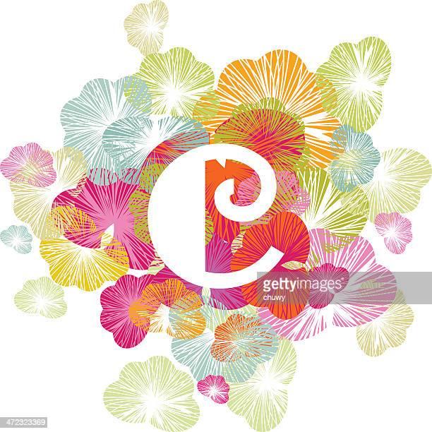 alphabet letter c floral initial uppercase - letter c stock illustrations, clip art, cartoons, & icons