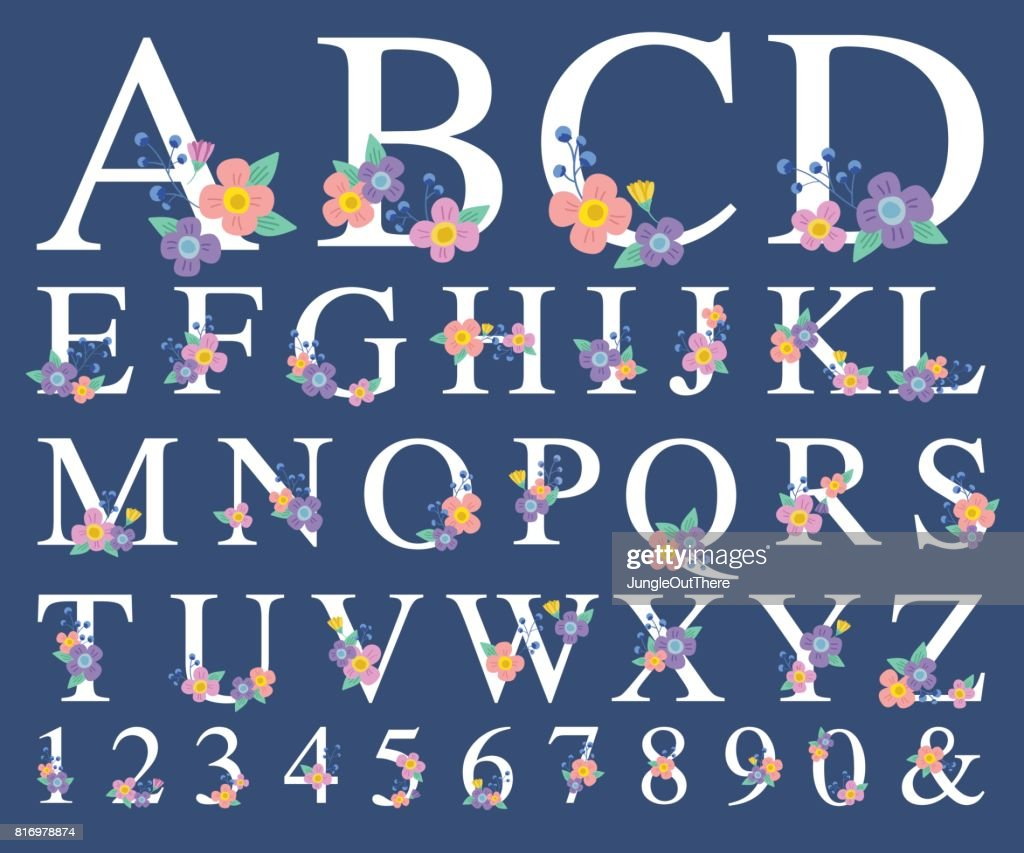 Alphabet Letter with Decorative Flower