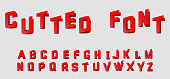 Alphabet letters cut out from paper red style. Vector illustration