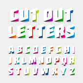 Alphabet letters cut out from paper